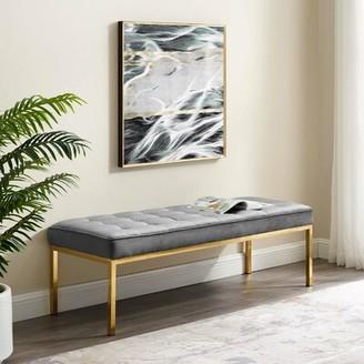 "Orren Ellis Neher Faux Leather Bench Color: Gold/Gray, Size: 17.5"" H x 55.5"" W x 20"" D"
