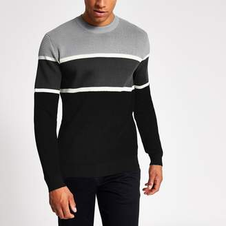 River Island Mens Grey colour blocked knitted slim fit jumper