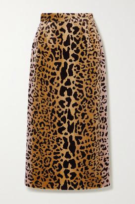 Miu Miu Leopard-print Velvet Midi Skirt - Brown