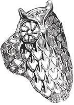 Silver Tone Openwork Owl Ring