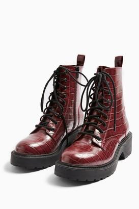 Topshop Womens Kacy Burgundy Chunky Boots - Burgundy