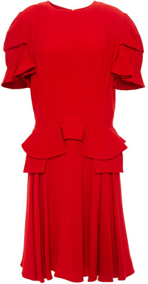 Alexander McQueen Ruffled Pleated Crepe Mini Dress