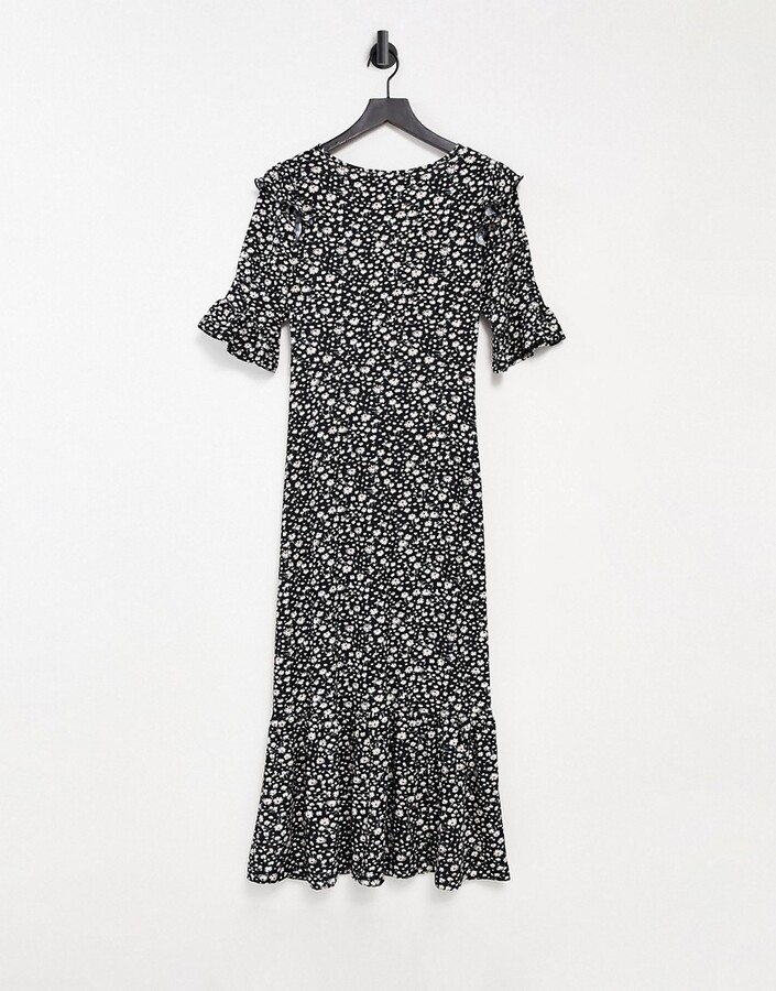 Thumbnail for your product : Qed London midiaxi dress with three-quarter sleeves in floral print