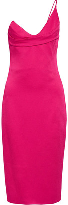 Cushnie One-shoulder Textured Satin-crepe Dress