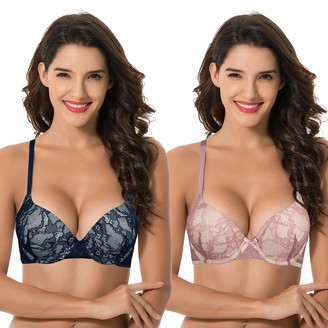 Curve Muse Women Plus Size Push Up Add 1 Cup Underwire Perfect Shape Lace Bras-2PK-RED Dark BLUE-34DDD (EU:75F)