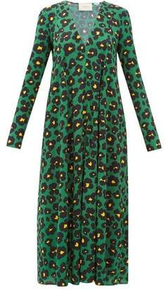 La DoubleJ Trapezio Floral-print Crepe Midi Dress - Womens - Green Print