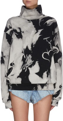 Alexander Wang Marble Effect Print Mock Neck Sweatshirt