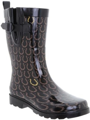 Online Shiny Classic check Printed Mid Calf Rubber Women Rain Boot