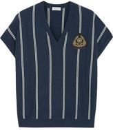 Brunello Cucinelli Appliquéd Striped Cashmere Top - Navy