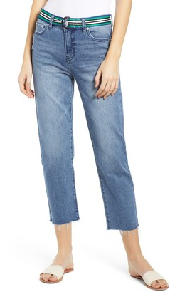 Prosperity Denim Belted Crop Straight Leg Jeans