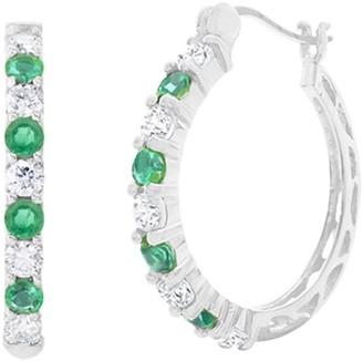 Savvy Cie Sterling Silver Emerald & White Topaz 16mm Hoop Earrings