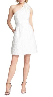Halston One-Shoulder Jacquard Cocktail Dress