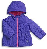 London Fog Quilted Heart Jacket in Purple
