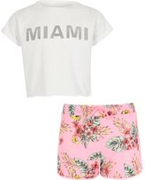 River Island Girls White 'Miami' T-shirt and shorts outfit