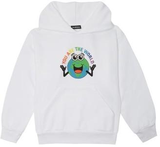 Balenciaga Kids You Are The World-print Cotton Hooded Sweatshirt - Womens - White Multi