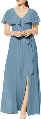 #Levkoff Flutter Overlay Chiffon A-Line Gown