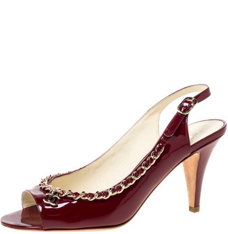 Chanel Burgundy Patent Leather Chain Open Toe Slingback Sandals Size 39
