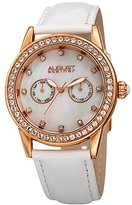 August Steiner Women's Quartz Stainless Steel and Leather Casual Watch, Color:White (Model: AS8234WT)