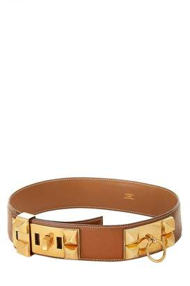 Hermes Gold Leather Collier De Chien Belt 65
