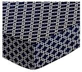 SheetWorld Fitted Portable / Mini Crib Sheet - Navy Links - Made In USA