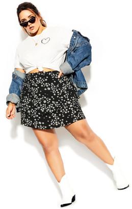 City Chic Miss Daisy Skirt - black
