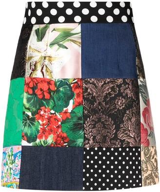Dolce & Gabbana patchwork A-line mini skirt