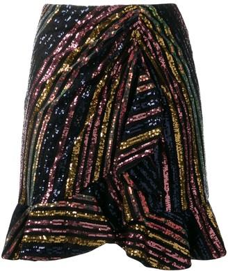 Self-Portrait Sequinned Asymmetric Skirt