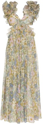 Zimmermann Ruffled Floral-Print Gown