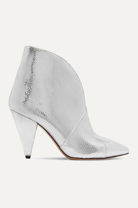 Isabel Marant Archenn Metallic Lizard-effect Leather Ankle Boots - Silver