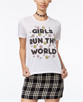 Mighty Fine Juniors' Girls Run The World Graphic T-Shirt