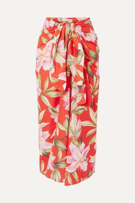 Mara Hoffman Net Sustain Izzi Floral-print Organic Cotton-voile Midi Skirt - Bright orange