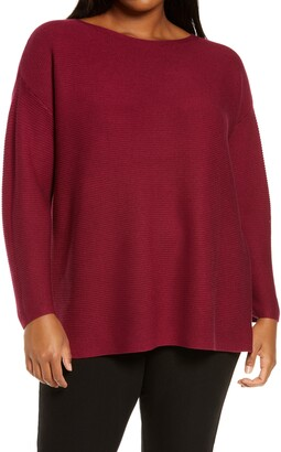 Eileen Fisher Bateau Neck Silk & Cashmere Tunic Sweater