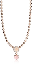 Rebecca Boulevard Stone Rose Gold Over Bronze Necklace w/Hydrothermal Pink Stone