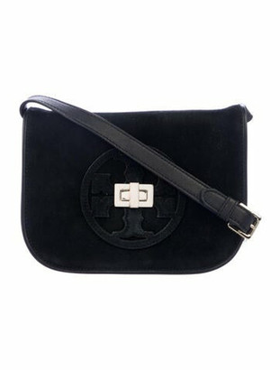 Tory Burch Suede Leather-Trimmed Crossbody Black