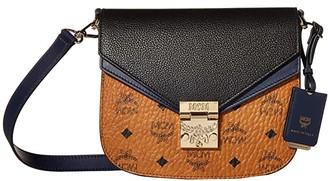 MCM Patricia Visetos Leather Block Shoulder Small (Cognac/Navy Blue) Shoulder Handbags