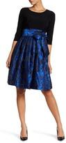 Eliza J 3/4 Sleeve Waist Floral Print Dress (Petite)
