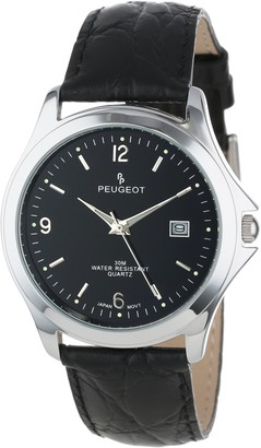 Peugeot Mens Round Silver-Tone Watch. Black dial with Calendar Function. Black Genuine Leather Strap