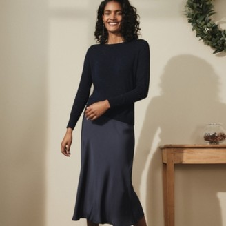 The White Company Bias-Cut Skirt , Navy, 8
