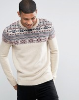 Asos Lambswool Rich Sweater with Yoke Fairisle Detail