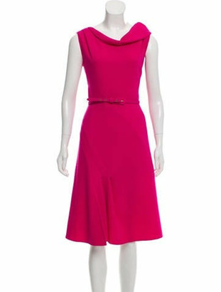 Oscar de la Renta Wool Midi Dress Magenta