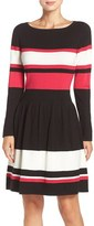 Eliza J Stripe Sweater Fit & Flare Dress