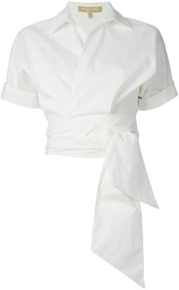 Michael Kors Cropped Tie Detail Shirt