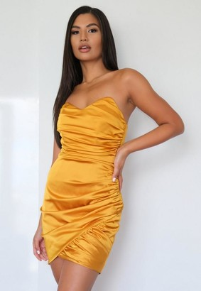 Missguided Mustard Satin Bandeau Ruched Mini Dress
