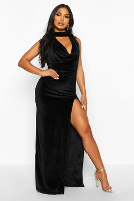 boohoo Halter Neck Velvet Backless Maxi Dress