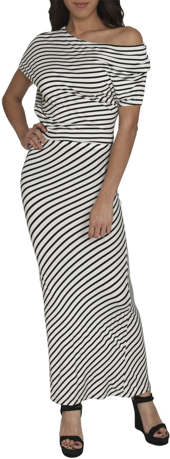 Arden B Asymmetrical Striped Maxi Dress