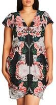 City Chic Plus Size Women's Mirror Floral Zip Front Dress
