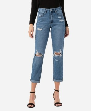 VERVET Women's Distressed Rolled Up Mom Jeans