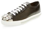 Miu Miu Embellished Cap-Toe Leather Sneaker