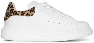 Alexander McQueen White and leopard suede classic sneakers