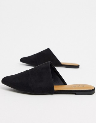 Qupid flat mules in black